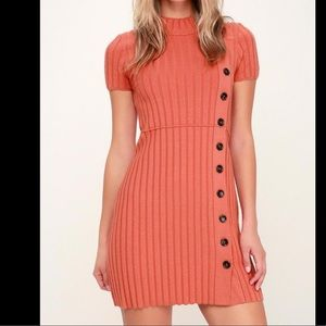 Free People coral ribbed knit sweater dress NWT